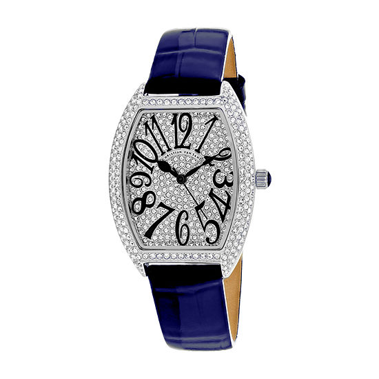 Christian Van Sant Womens Blue Leather Strap Watch-Cv4821