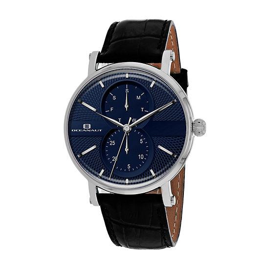 Oceanaut Mens Black Leather Strap Watch-Oc0344