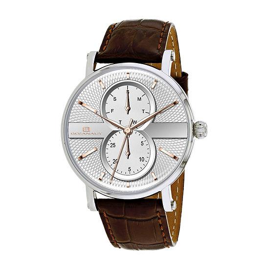 Oceanaut Mens Brown Leather Strap Watch-Oc0340
