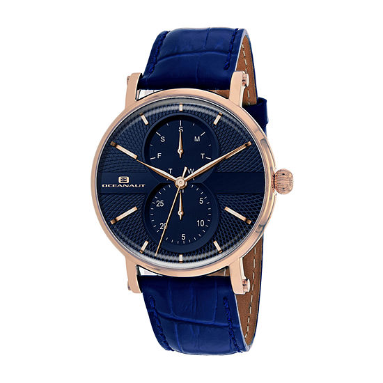 Oceanaut Mens Blue Leather Strap Watch-Oc0343