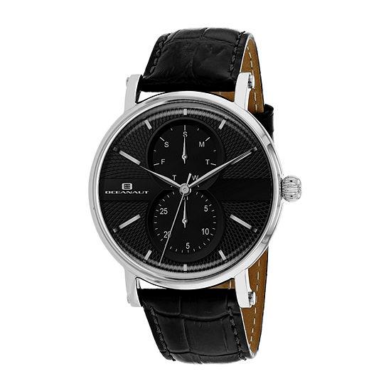 Oceanaut Mens Black Leather Strap Watch-Oc0345