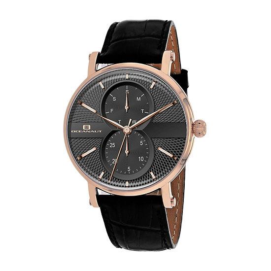 Oceanaut Mens Black Leather Strap Watch-Oc0342
