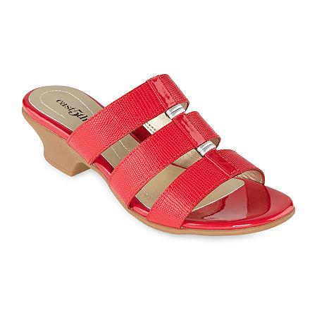 Vintage Sandals | Wedges, Espadrilles – 30s, 40s, 50s, 60s, 70s east 5th Womens Elda Heeled Sandals 6 12 Wide Red $18.74 AT vintagedancer.com