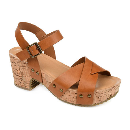 Vintage Sandals | Wedges, Espadrilles – 30s, 40s, 50s, 60s, 70s Journee Collection Womens Valentina Pumps Open Toe Block Heel 10 Medium Beige $45.49 AT vintagedancer.com