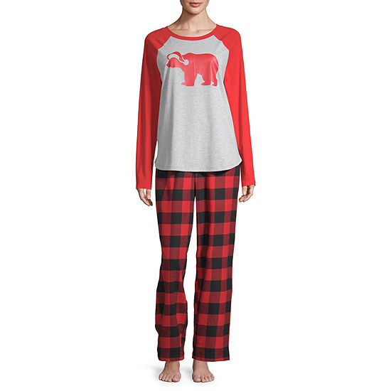 North Pole Trading Co. Buffalo Plaid Family Womens-Tall Pant Pajama Set 2-pc. Long Sleeve