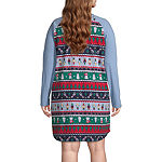 North Pole Trading Co. Fun Fairisle Family Womens-Plus Nightshirt Long Sleeve Crew Neck