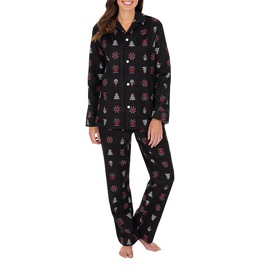 Wembley Snowman And Trees Couples Flannel Womend Adult 2-pc. Long Sleeve Pant Pajama Set