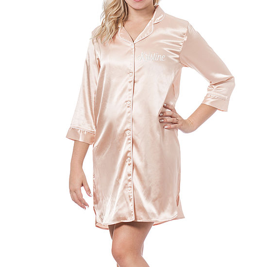 Cathy's Concepts Personalized Womens Satin Nightshirt 3/4 Sleeve V Neck