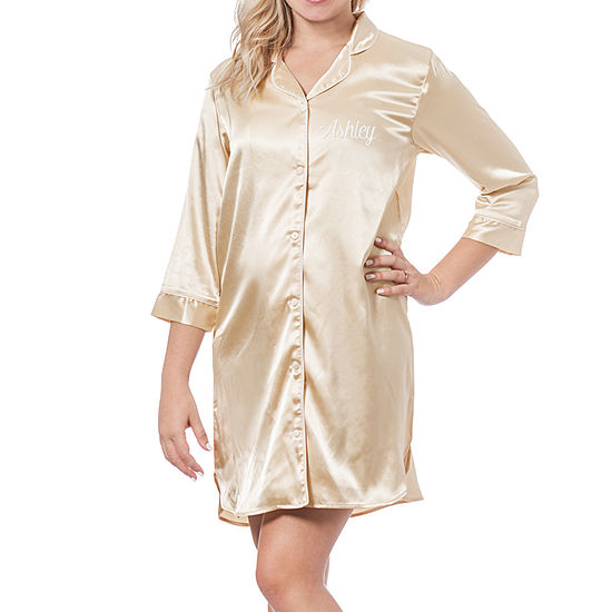 Cathy's Concepts Womens Satin Nightshirt 3/4 Sleeve V Neck