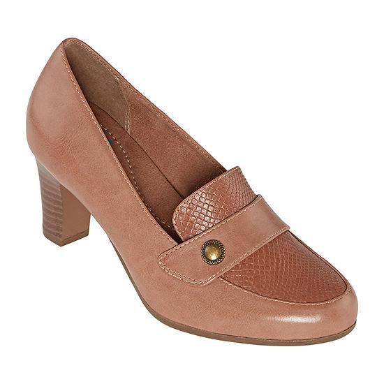 Yuu Womens Tessa Round Toe Stacked Heel Pumps