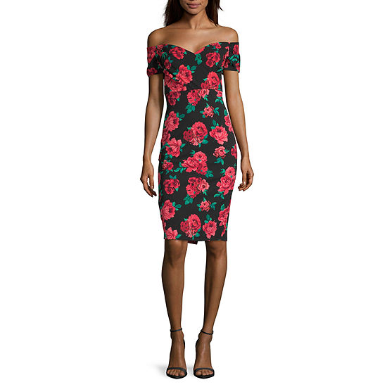 by&by-Juniors Short Sleeve Floral Bodycon Dress