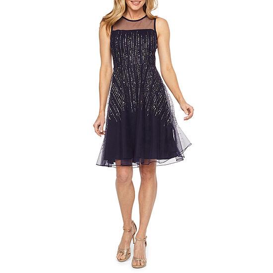 J Taylor Sleeveless Embellished Fit & Flare Dress