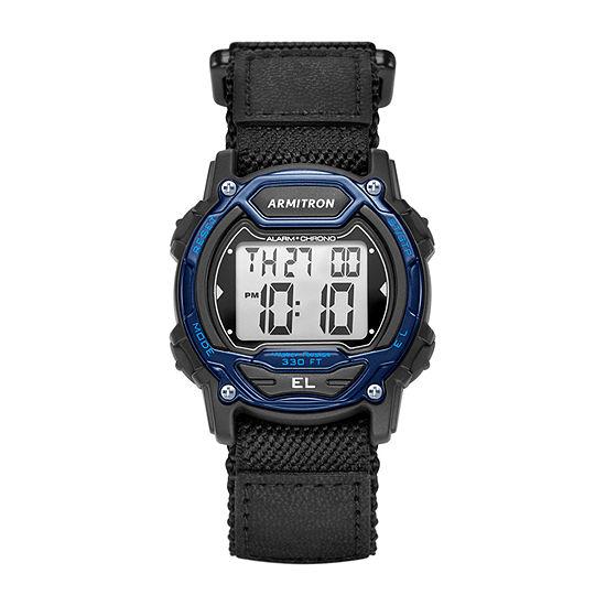Armitron Pro Sport Mens Chronograph Black Strap Watch-45/7004blu