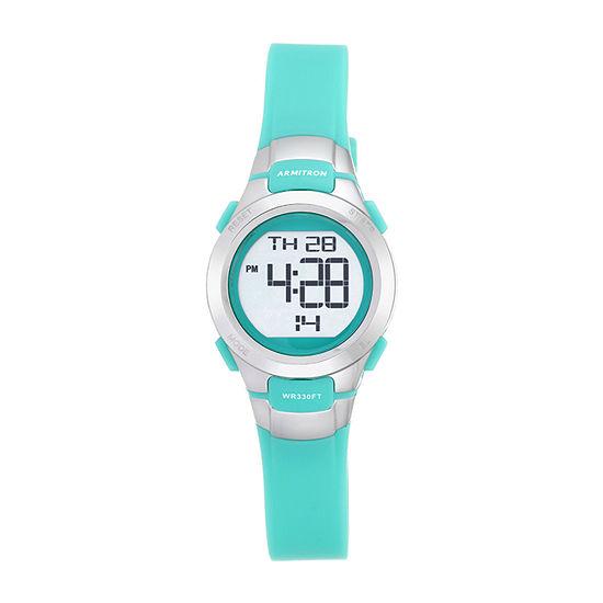 Armitron Pro Sport Womens Chronograph Digital Green Strap Watch-45/7012tel