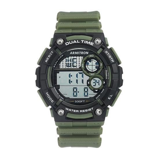 Armitron Pro Sport Mens Chronograph Green Strap Watch-40/8445dgn