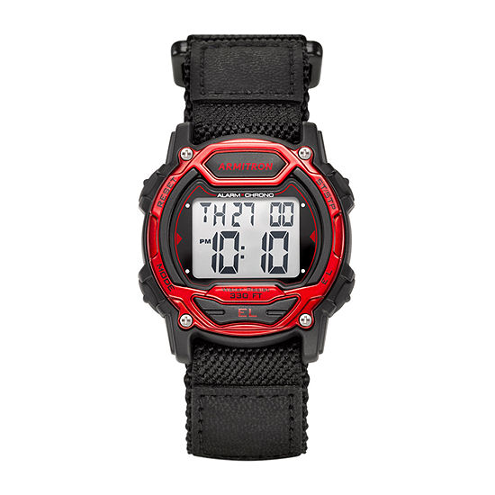 Armitron Pro Sport Mens Chronograph Black Strap Watch-45/7004red