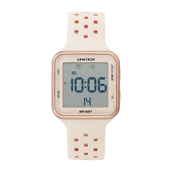 Armitron Pro Sport Womens Chronograph Multi-Function Digital Rose Goldtone Strap Watch-40/8417pbh
