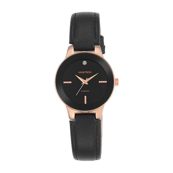 Armitron Now Womens Black Leather Strap Watch-75/5410bkrgbk
