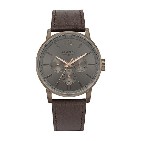 Armitron All Sport Mens Brown Leather Bracelet Watch-20/5217dgdgbn