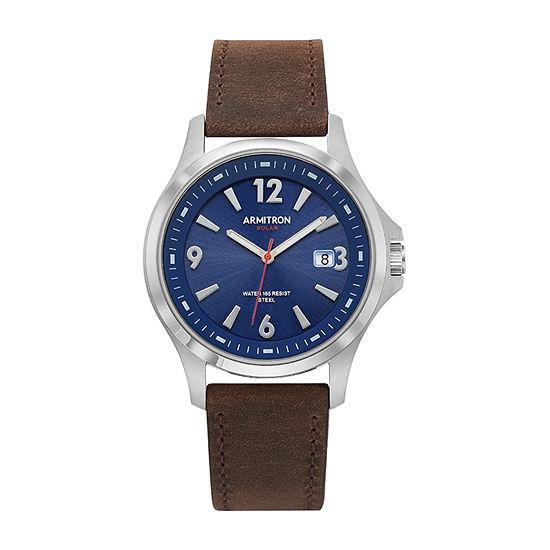 Armitron All Sport Mens Brown Leather Bracelet Watch - 20/5262nvsvbn