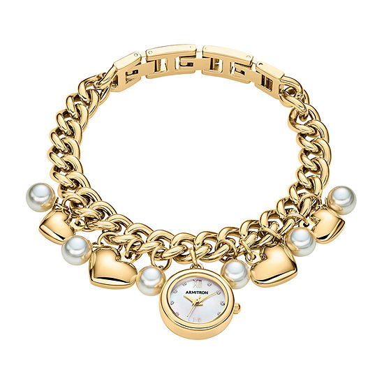 Armitron Charm Womens Crystal Accent Gold Tone Bracelet Watch-75/5578mpgp
