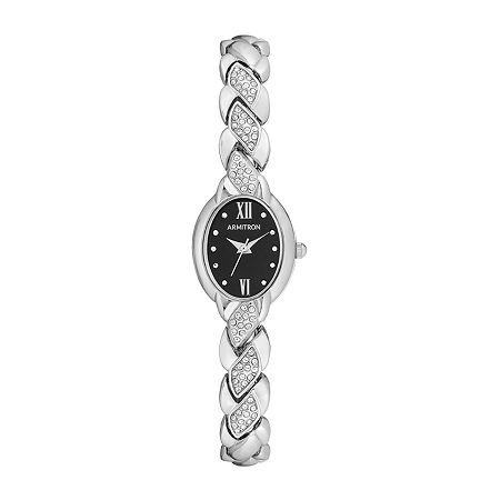 Armitron Womens Crystal Accent Silver Tone Bracelet Watch - 75/5576bksv, One Size