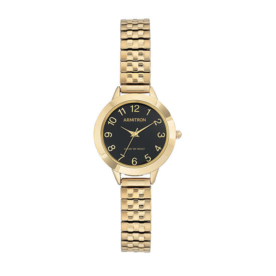 Armitron Womens Gold Tone Stainless Steel Bracelet Watch - 75/5562bkgp