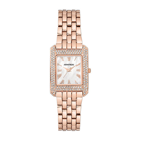 Armitron Womens Crystal Accent Rose Goldtone Bracelet Watch-75/5575mprg