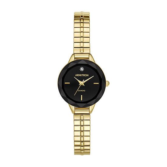 Armitron Womens Gold Tone Stainless Steel Bracelet Watch - 75/5596bkgp
