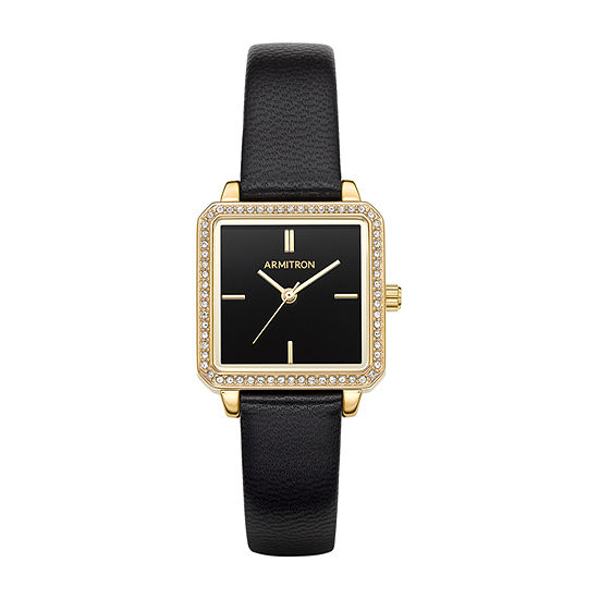 Armitron Womens Black Leather Bracelet Watch-75/5597bkgpbk