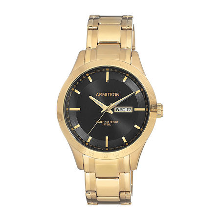Armitron Mens Gold Tone Stainless Steel Bracelet Watch - 20/5174bkgp, One Size , No Color Family