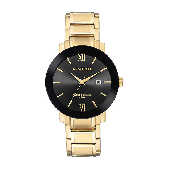 Armitron Mens Gold Tone Stainless Steel Bracelet Watch-20/5273bkgp