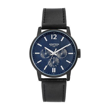 Armitron Mens Black Leather Bracelet Watch - 20/5217nvtibk, One Size