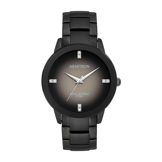Armitron Unisex Adult Crystal Accent Black Stainless Steel Bracelet Watch-20/5302dgti