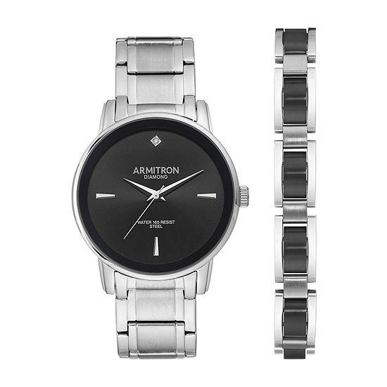 Armitron Mens Diamond Accent Silver Tone Stainless Steel Bracelet Watch-20/5307bksvst