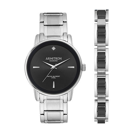 Armitron Mens Diamond Accent Silver Tone Stainless Steel Bracelet Watch - 20/5307bksvst, One Size
