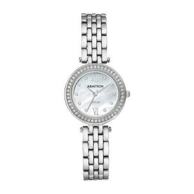 Armitron Womens Crystal Accent Silver Tone Bracelet Watch 75/5623mpsv