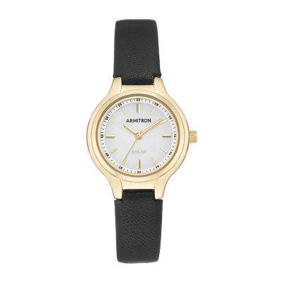 Armitron Womens Black Leather Strap Watch 75/5633wtgpbk
