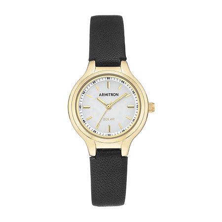 Armitron Womens Black Leather Strap Watch-75/5633wtgpbk, One Size