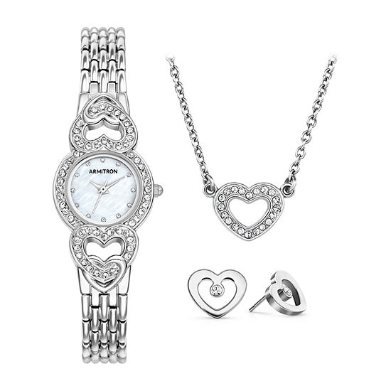 Armitron Womens Crystal Accent Silver Tone Bracelet Watch-75/5650mpsvst