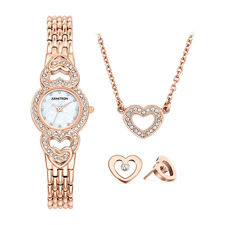 Armitron Armitron Womens Crystal Accent Rose Goldtone 3-pc. Watch Boxed Set-75/5650mprgst, One Size , No Color Family