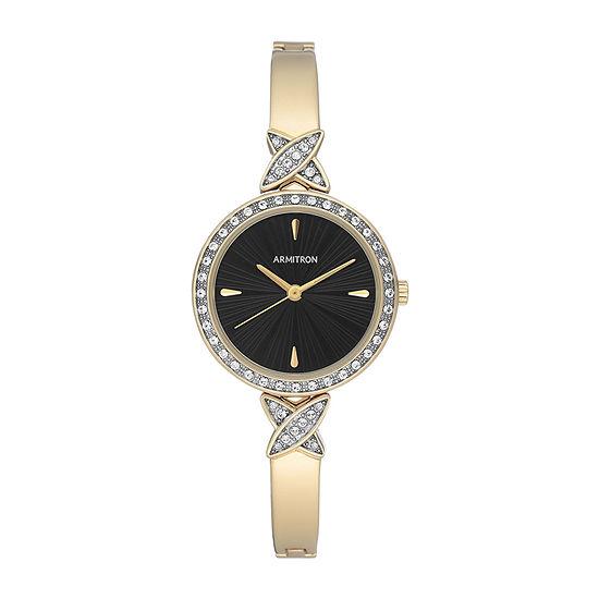 Armitron Armitron Womens Crystal Accent Gold Tone Bangle Watch-75/5654bkgp