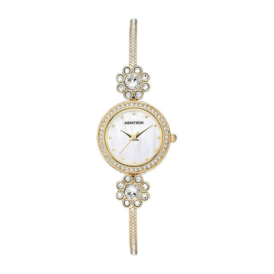 Armitron Womens Crystal Accent Gold Tone Bangle Watch-75/5655mpgp