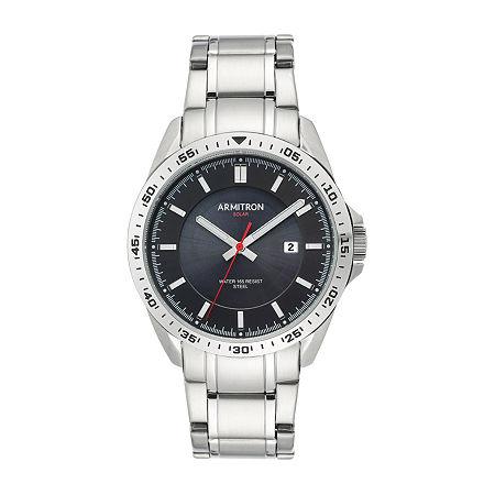 Armitron Mens Silver Tone Stainless Steel Bracelet Watch - 20/5368bksv, One Size