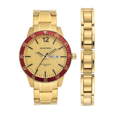 Armitron Mens Gold Tone Stainless Steel Bracelet Watch 20/5420gdgpst