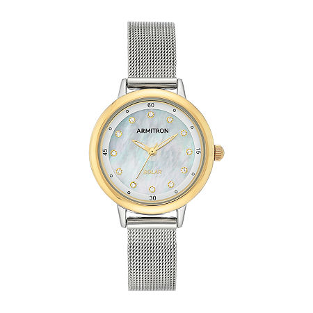 Armitron Womens Crystal Accent Silver Tone Stainless Steel Bracelet Watch - 75/5712mptt, One Size