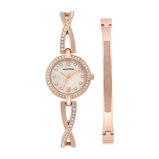 Armitron Womens Crystal Accent Rose Goldtone 2-pc. Watch Boxed Set-75/5720bmrgst