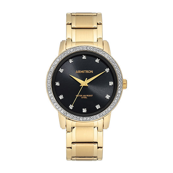 Armitron Unisex Adult Crystal Accent Gold Tone Stainless Steel Bracelet Watch-20/5328bkgp