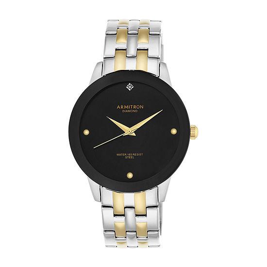 Armitron Mens Diamond Accent Two Tone Stainless Steel Bracelet Watch-20/4952bktt
