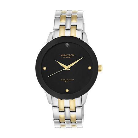 Armitron Mens Diamond Accent Two Tone Stainless Steel Bracelet Watch - 20/4952bktt, One Size